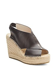 Kenneth Cole Ona Leather Espadrille Wedge Sandals Dark Brown