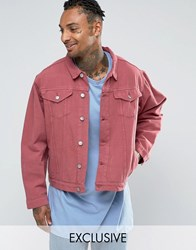 Reclaimed Vintage Oversized Denim Jacket In Overdye Pink