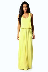 Boohoo Alice Racer Back Maxi Dress Yellow