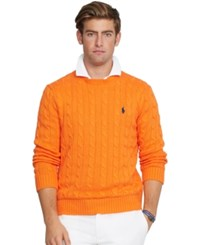 Polo Ralph Lauren Cable Knit Crewneck Sweater Orange