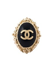 Chanel Vintage Logo Engraved Ring Black