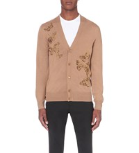Alexander Mcqueen Butterfly Wool And Silk Blend Cardigan Camel Bronze