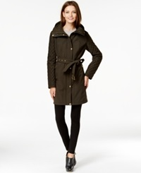 Michael Michael Kors Faux Leather Trim Quilted Sleeve Belted Trench Coat