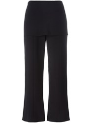 Giorgio Armani Layered Cropped Trousers Black