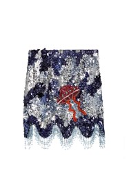 House Of Holland Sequin Embellished Mini Skirt Navy Multi