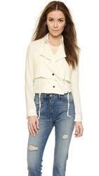 Haute Hippie Cropped Trench Jacket Swan