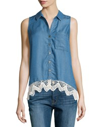 Neiman Marcus Denim Crochet Blouse W Pocket Blue