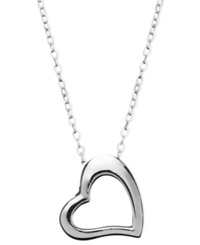 Giani Bernini Sterling Silver Necklace Small Open Cut Heart Pendant