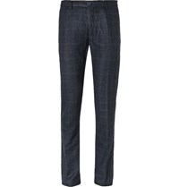 Etro Navy Slim Fit Prince Of Wales Checked Wool Blend Trousers Blue