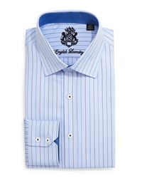 English Laundry Pencil Stripe Dress Shirt Blue