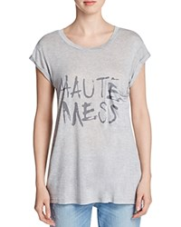 Haute Hippie Mess Pocket Tee Compare At 175 Light Heather Gray Black