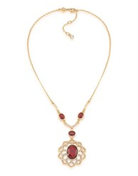 Carolee The Big Apple 12K Goldplated Openwork Pendant Necklace Red