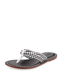 Bernardo Miami Woven Leather Sandal Black White