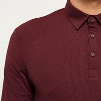 River Island Mens Dark Red Textured Long Sleeve Polo Shirt