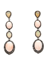 Lauren Craft Collection Coral Opal And Diamond Drop Earrings Pink And Purple