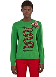 Gucci Snake Intarsia Knit Crew Neck Sweater Green