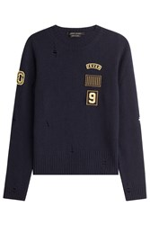 Marc Jacobs Wool Pullover With Patches And Distressed Detail Blue