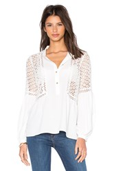 Twelfth St. By Cynthia Vincent Mixed Fabric Peasant Top White