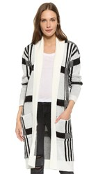 Bb Dakota Mobley Plaid Cardigan Sweater Ivory