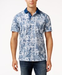 Tasso Elba Men's Patchwork Performance Polo Only At Macy's White Blue Combo