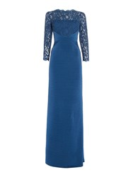 Adrianna Papell Lace Top With Ribbed Skirt Deep Blue
