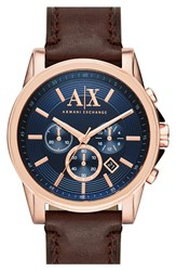Armani Exchange 'Outerbanks' Chronograph Leather Strap 45Mm Blue Brown