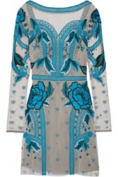 Temperley London Flutura Embroidered Tulle Dress Gray