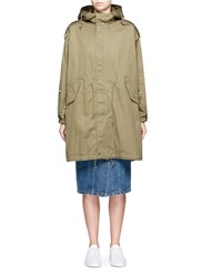 Tu Es Mon Tresor 'Open Your Heart' Faux Pearl Embellished Military Parka Green