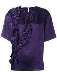 Rochas Ruffled Detailing T Shirt Pink Purple
