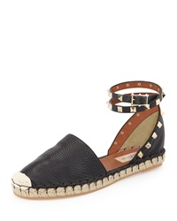 Valentino Rockstud Double Ankle Wrap Flat Espadrille Black
