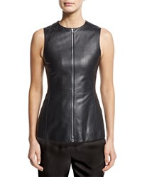Agnona Zip Front Leather Peplum Vest Black