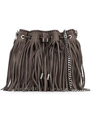 Stella Mccartney 'Falabella' Fringed Bucket Tote Brown
