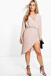 Boohoo Theresa Strappy Wrap Front Dress Stone