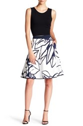 Ellen Tracy Poplin Circle Skirt Blue