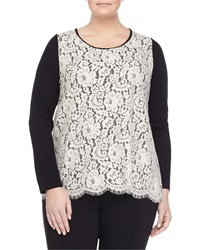 Marina Rinaldi Long Sleeve Lace And Knit Blouse W Flyaway Back Women's