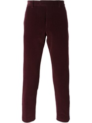 Msgm Side Strip Corduroy Trousers Red