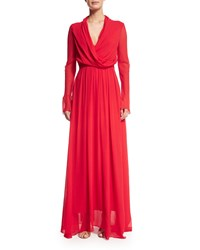 Camilla And Marc Long Sleeve Blouson Crinkled Gown Women's Red