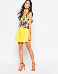 Oh My Love Scuba Pleated Skater Skirt Yellow
