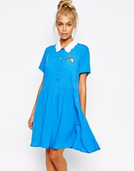 Lazy Oaf Button Front Shirt Dress With Rainbow Embroidery And Cloud Collar Blue