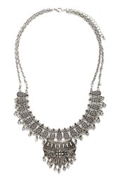 Forever 21 Etched Beaded Bib Necklace