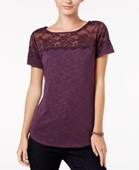 Maison Jules Printed Lace Yoke T Shirt Only At Macy's Plum Perfect