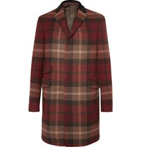 Etro Velvet And Calf Hair Trimmed Plaid Wool Blend Coat Red