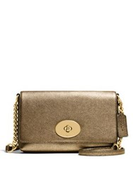 Coach Crosstown Metallic Pebbled Leather Crossbody Bag Gold