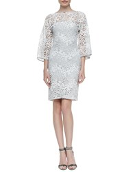 Rubin Singer Camelia Lace Kimono Sleeve Sheath Dress Gray White Grey White