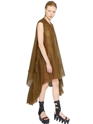 Rick Owens Draped Layered Tulle Dress Mustard