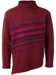 En Route Striped Panel Turtleneck Jumper Red