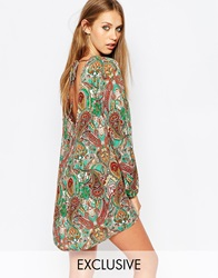 Reclaimed Vintage Long Sleeve Tunic Dress With Tie Back Detail In Paisley Floral Print Multi