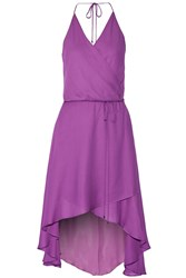 Haute Hippie Wrap Effect Silk Dress Purple