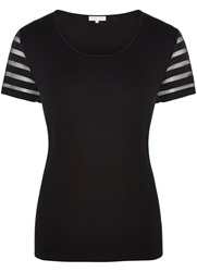 Austin Reed Sheer Stripe Sleeve Jersey Top Black
