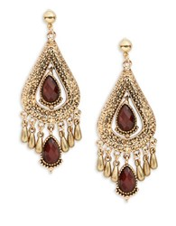 Design Lab Lord And Taylor Teardrop Stone Accented Earrings Red